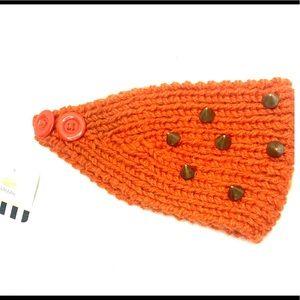 Accessories - Orange Winter Stud Button Headwrap